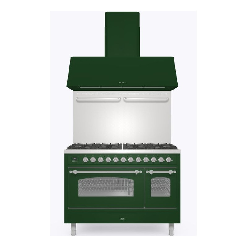 Set Aragaz ILVE Nostalgie P12N, 120x70cm, 8 arzatoare , cuptor dublu +Splash Back 120+Hota Ilve AG120, verde
