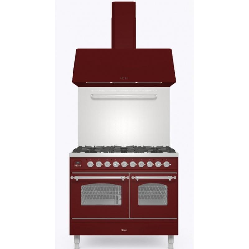 Set Aragaz ILVE Nostalgie PD10N, 100x60cm, gaz, 4 arzatoare + Fry Top, cuptor dublu+Splash Back 100+Hota Ilve AG100, rosu