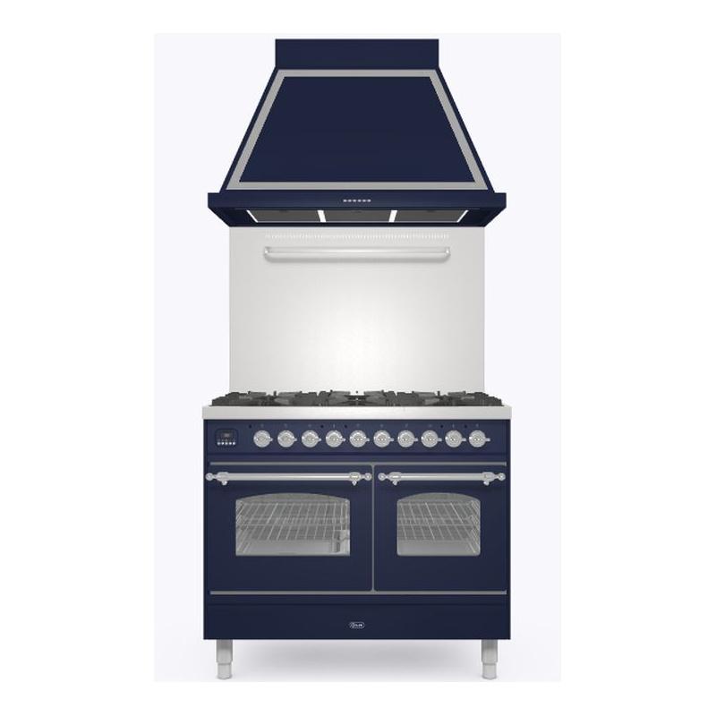 Set Aragaz ILVE Nostalgie PD10N, 100x60cm, gaz, 6 arzatoare, cuptor dublu+Splash Back 100+Hota Ilve ABN100, albastru