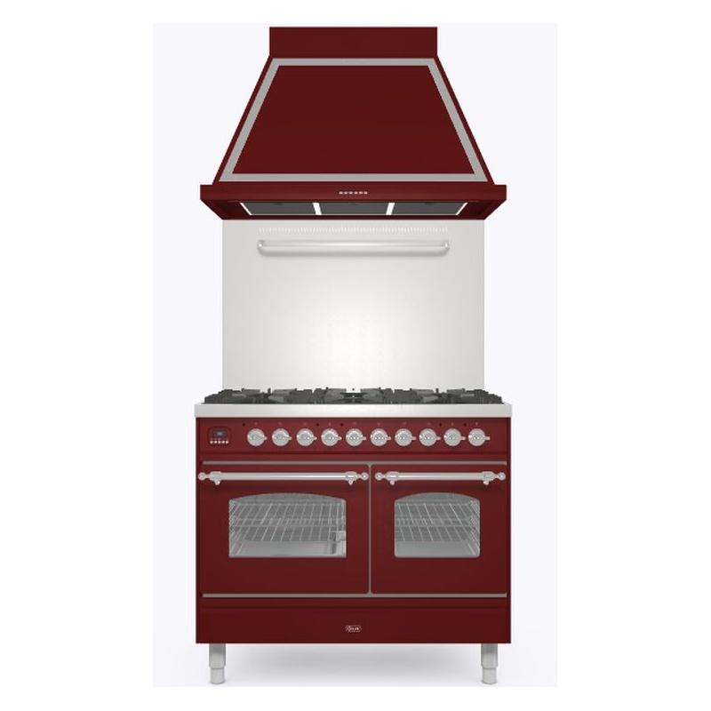 Set Aragaz ILVE Nostalgie PD10N, 100x60cm, gaz, 4 arzatoare + Fry Top, cuptor dublu+Splash Back 100+Hota Ilve ABN100, rosu