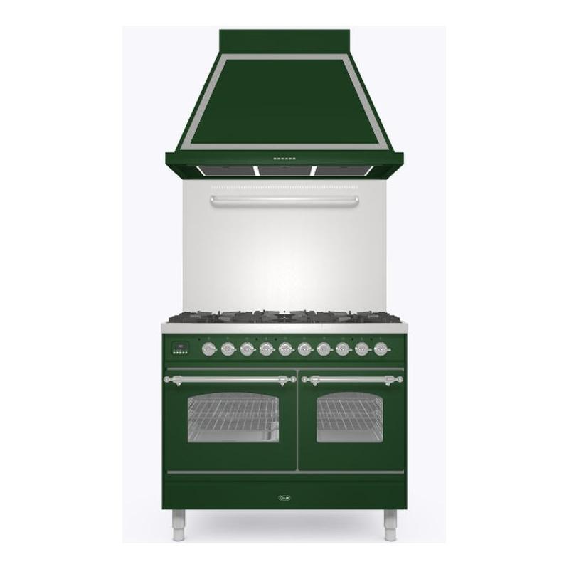 Set Aragaz ILVE Nostalgie PD10N, 100x60cm, gaz, 4 arzatoare + Fry Top, cuptor dublu+Splash Back 100+Hota Ilve ABN100, verde