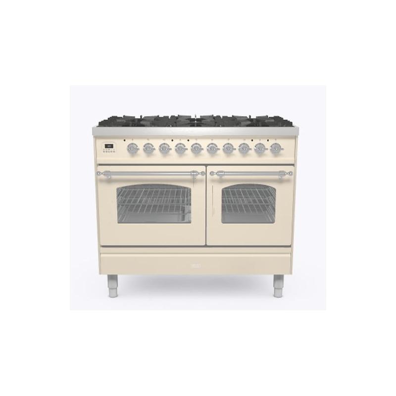 Aragaz ILVE Nostalgie PD10N, 100x60cm, 4 arzatoare + Fry Top, cuptor dublu, aprindere electronica, sigurante stop gaz, alb antic