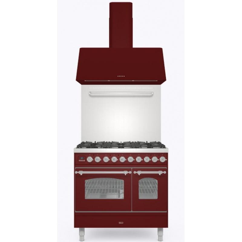 Set Aragaz ILVE Nostalgie PD09N, 90x60cm, 4 arzatoare + Fry Top, cuptor dublu+Splash Back 90+Hota Ilve AG90, rosu