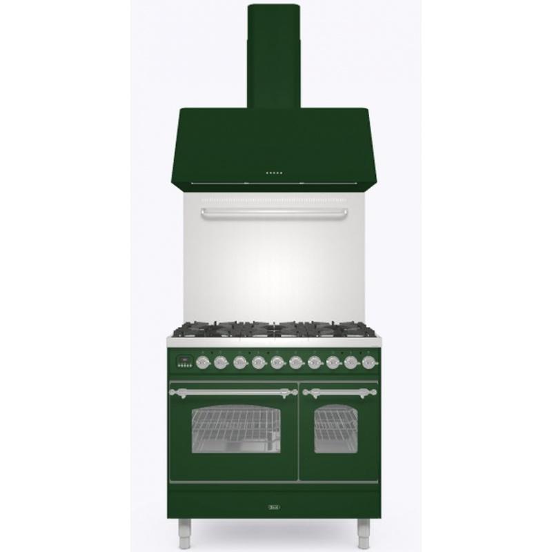Set Aragaz ILVE Nostalgie PD09N, 90x60cm, 4 arzatoare + Fry Top, cuptor dublu+Splash Back 90+Hota Ilve AG90, verde