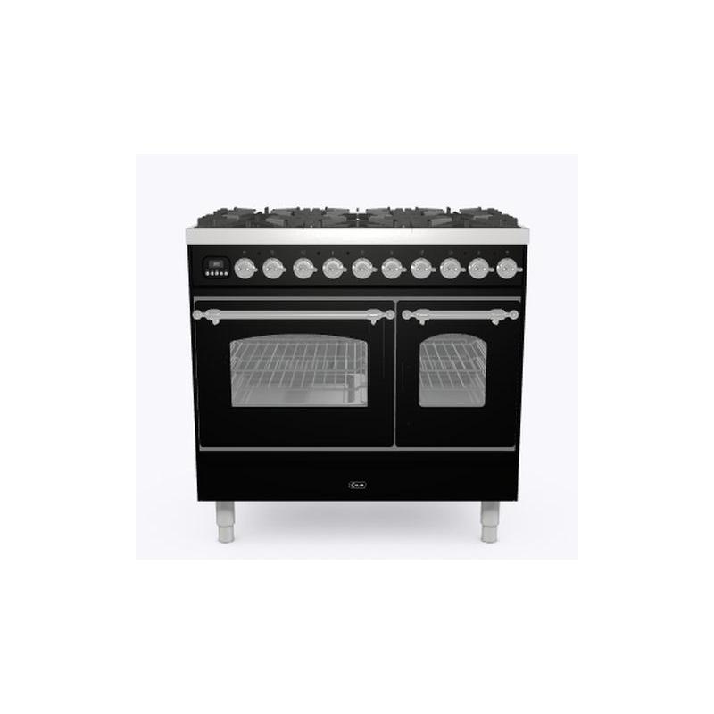 Aragaz ILVE Nostalgie PD09N, 90x60cm, 4 arzatoare + Fry Top, cuptor dublu, aprindere electronica, siguranta Stop Gaz, negru