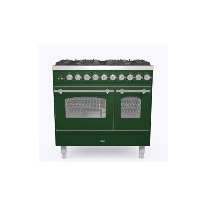 Aragaz ILVE Nostalgie PD09N, 90x60cm, 4 arzatoare + Fry Top, cuptor dublu, aprindere electronica, siguranta Stop Gaz, verde