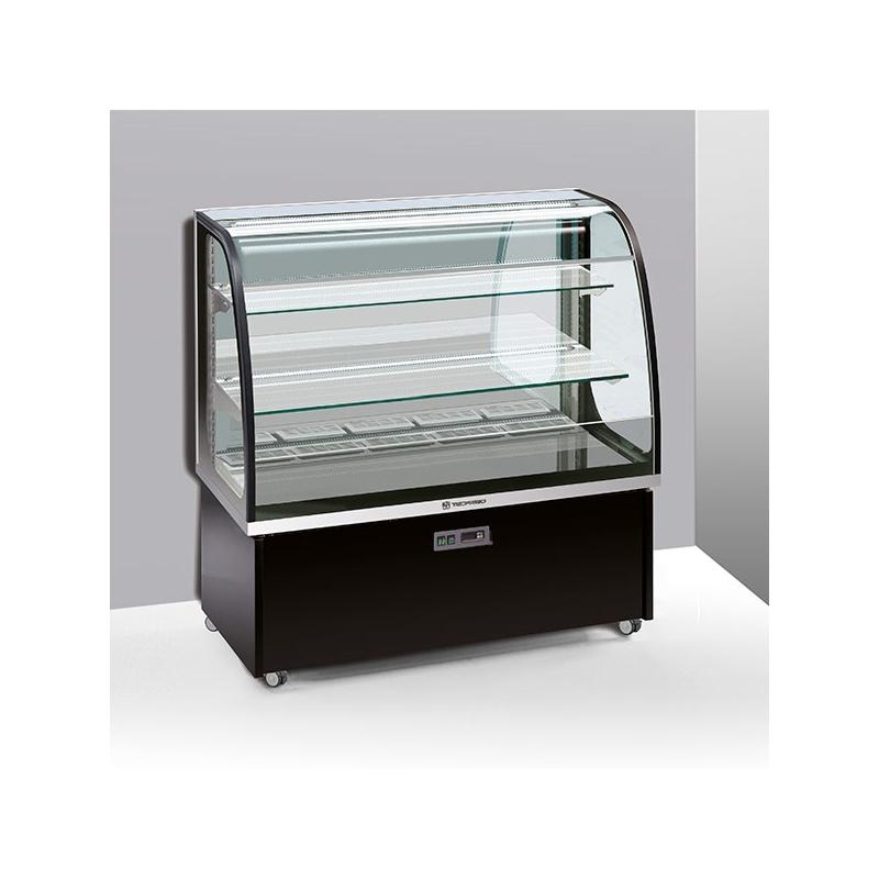 Vitrina frigorifica orizontala cofetarie Tecfrigo Brio 97 Q-SS-P, capacitate 300 l, temperatura +6/+9 ºC, argintiu/negru