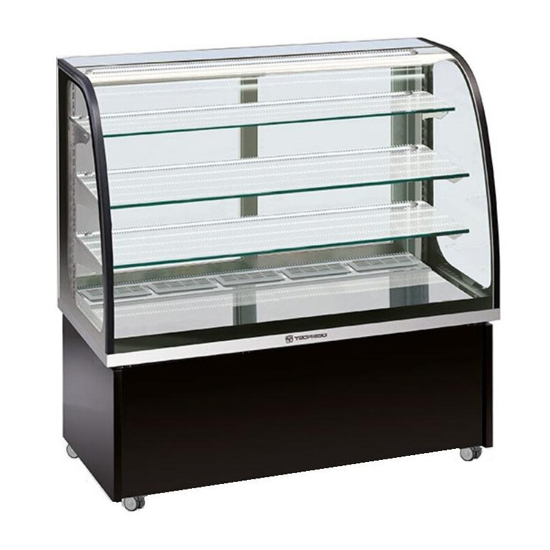 Vitrina frigorifica orizontala cofetarie Tecfrigo Brio 137 Q, capacitate 450 l, temperatura +3/+10 ºC, argintiu/negru