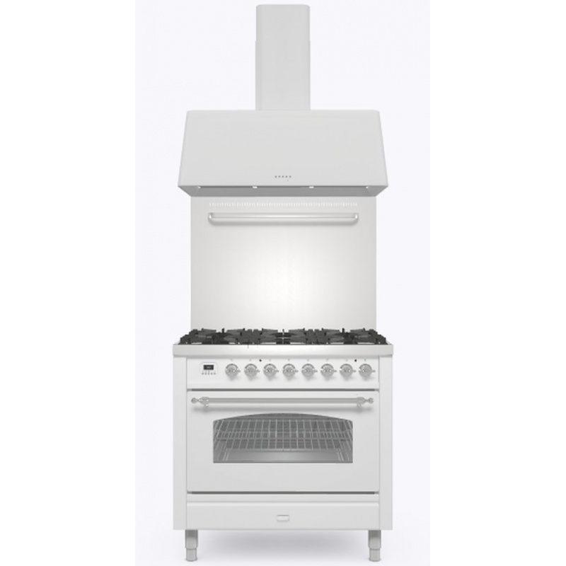 Set Aragaz ILVE Nostalgie P09N, 90x60cm, 6 arzatoare, cuptor electric+Splash Back 90+Hota Ilve AG90, alb