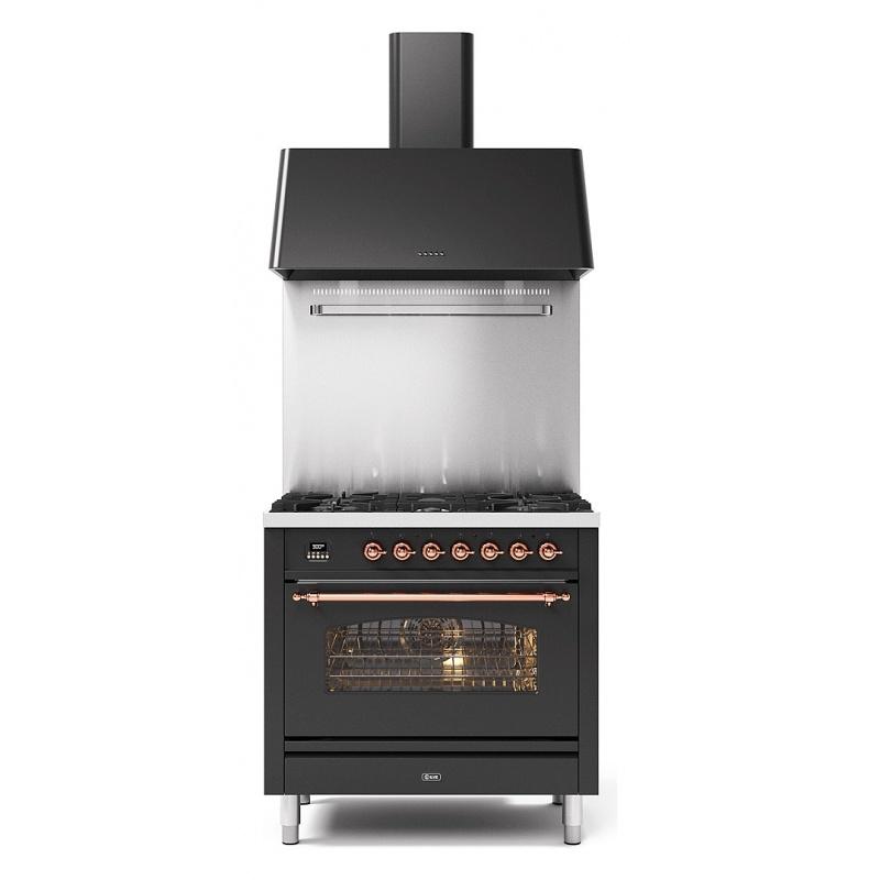 Set Aragaz ILVE Nostalgie P09N, 90x60cm, 6 arzatoare, cuptor electric+Splash Back 90+Hota Ilve AG90, negru antracit