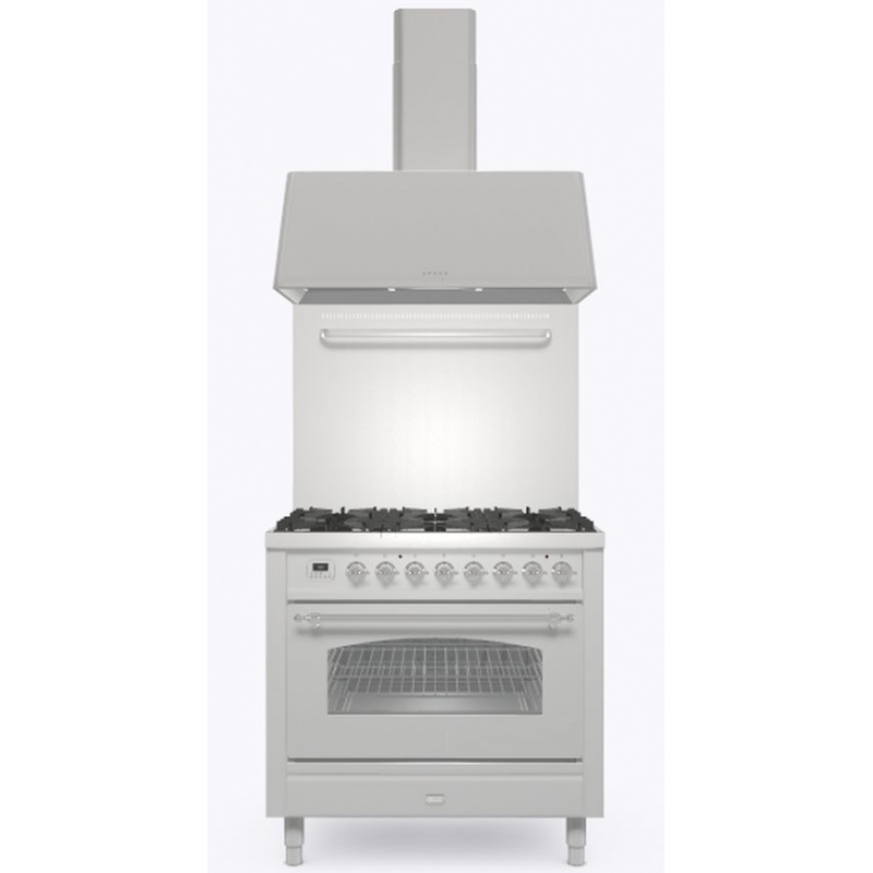 Set Aragaz ILVE Nostalgie P09N, 90x60cm, 6 arzatoare, cuptor electric+Splash Back 90+Hota Ilve AG90, inox