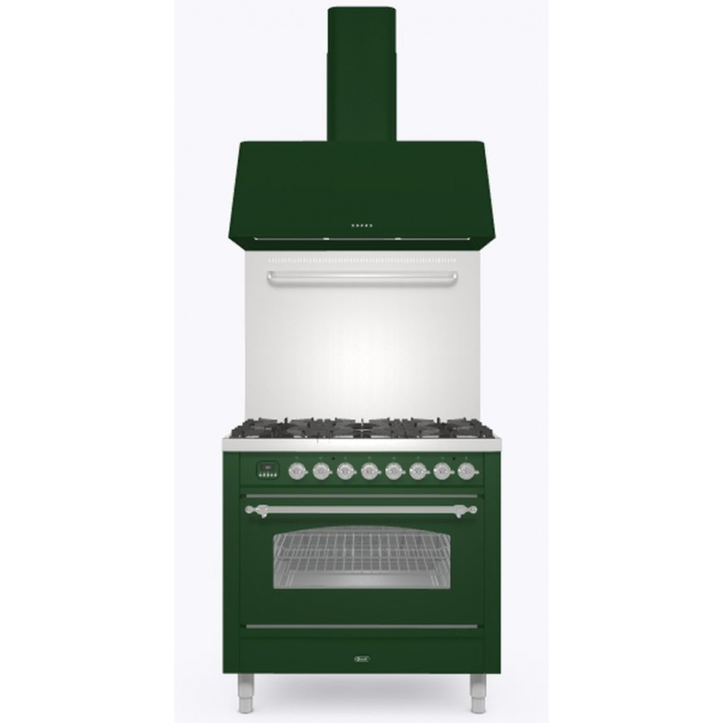 Set Aragaz ILVE Nostalgie P09N, 90x60cm, 6 arzatoare, cuptor electric+Splash Back 90+Hota Ilve AG90, verde