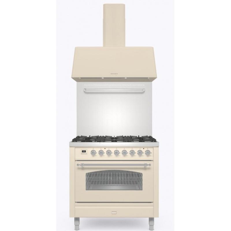 Set Aragaz ILVE Nostalgie P09N, 90x60cm, 4 arzatoare+Fry Top, cuptor electric+Splash Back 90+Hota Ilve AG90, alb antic