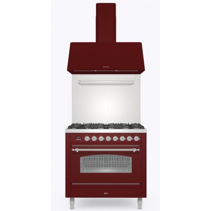 Set Aragaz ILVE Nostalgie P09N, 90x60cm, 4 arzatoare+Fry Top, cuptor electric+Splash Back 90+Hota Ilve AG90, rosu