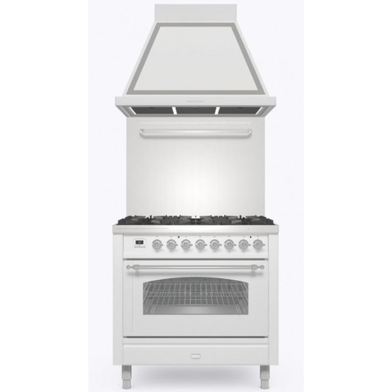 Set Aragaz ILVE Nostalgie P09N, 90x60cm, 4 arzatoare+Fry Top, cuptor electric+Splash Back 90+Hota Ilve ABN90, alb