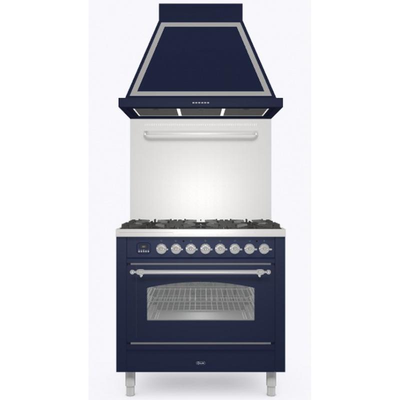 Set Aragaz ILVE Nostalgie P09N, 90x60cm, 4 arzatoare+Fry Top, cuptor electric+Splash Back 90+Hota Ilve ABN90, albastru