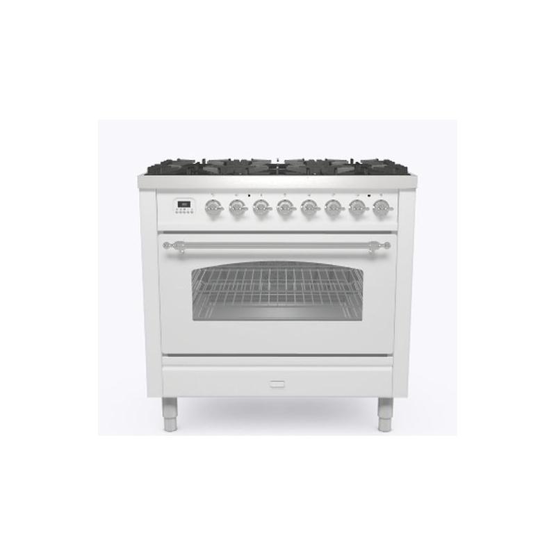 Aragaz ILVE Nostalgie P09N, 90x60cm, 6 arzatoare, cuptor electric, aprindere electronica, siguranta Stop-Gaz, alb