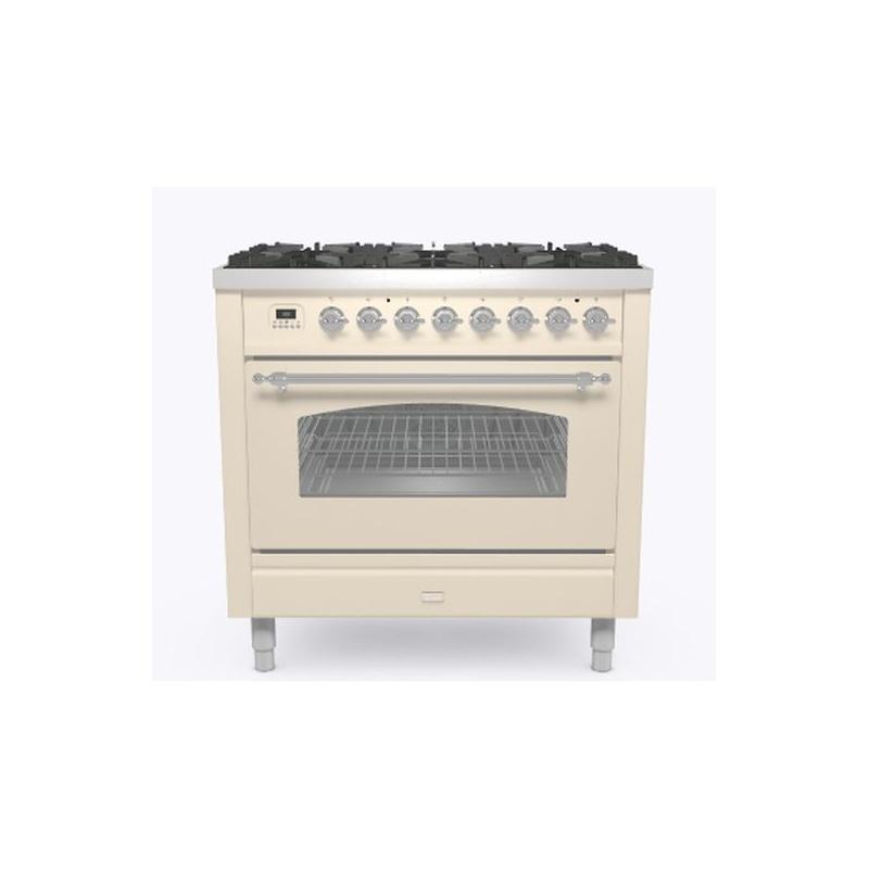 Aragaz ILVE Nostalgie P09N, 90x60cm, 6 arzatoare, cuptor electric, aprindere electronica, siguranta Stop-Gaz, alb antic