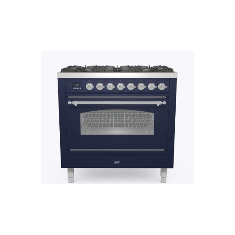 Aragaz ILVE Nostalgie P09N, 90x60cm, 6 arzatoare, cuptor electric, aprindere electronica, siguranta Stop-Gaz, albastru