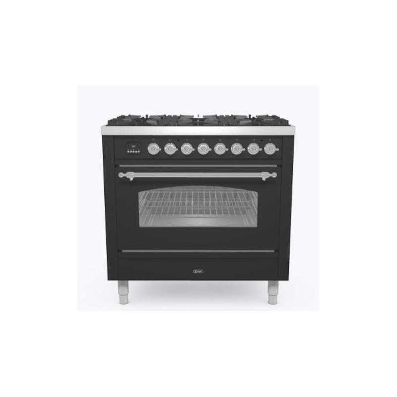 Aragaz ILVE Nostalgie P09N, 90x60cm, 4 arzatoare+Fry Top, cuptor electric, aprindere electronica, siguranta Stop Gaz, antracit