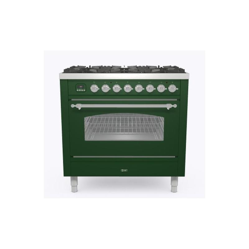 Aragaz ILVE Nostalgie P09N, 90x60cm, 4 arzatoare+Fry Top, cuptor electric, aprindere electronica, siguranta Stop Gaz, verde