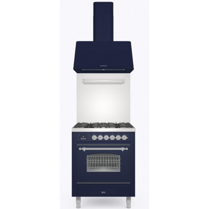Set Aragaz ILVE Nostalgie P07N, 70x60cm, 4 arzatoare, cuptor electric+Splash Back 70+Hota Ilve AG70, albastru