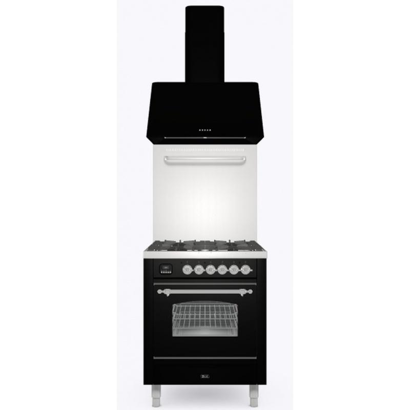 Set Aragaz ILVE Nostalgie P07N, 70x60cm, 4 arzatoare, cuptor electric+Splash Back 70+Hota Ilve AG70, negru
