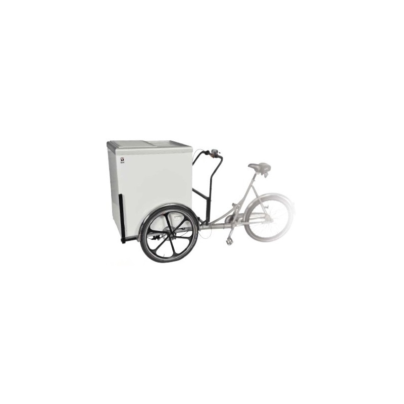 Bicicleta distributie inghetata cu congelator portabil Tecfrigo MOBIGEL 2, putere 190W, 206 litri, baterie 12V, -18/+4ºC, alb