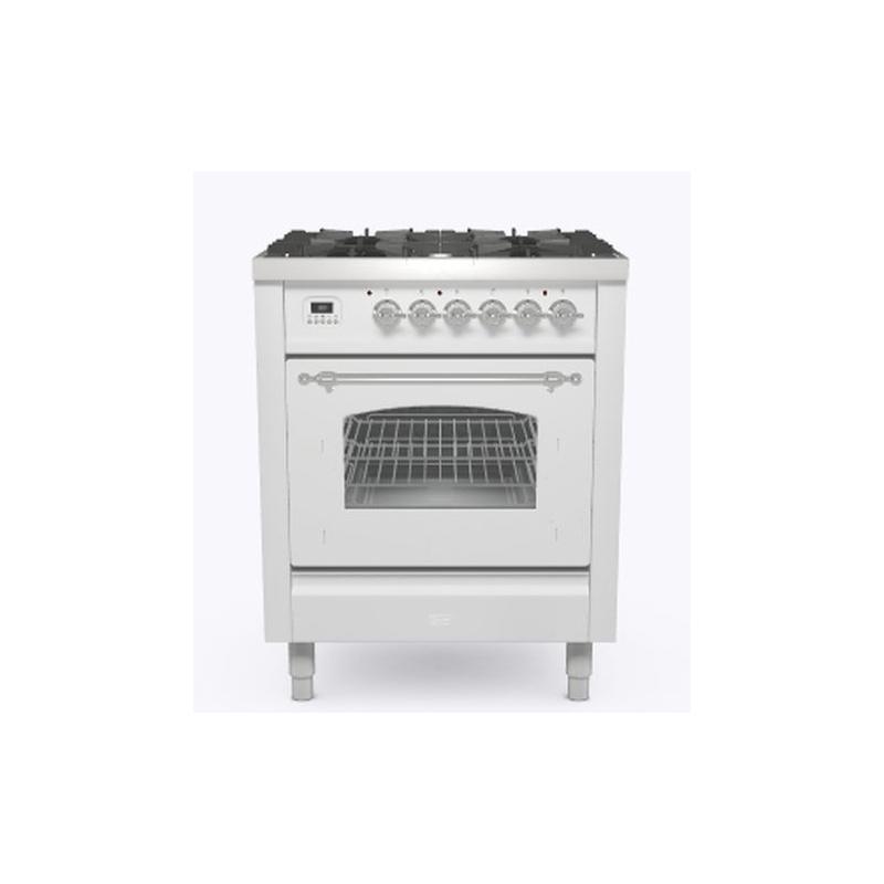 Aragaz ILVE Nostalgie P07N, 70x60cm, 4 arzatoare, cuptor electric, aprindere electronica, siguranta Stop-Gaz, alb