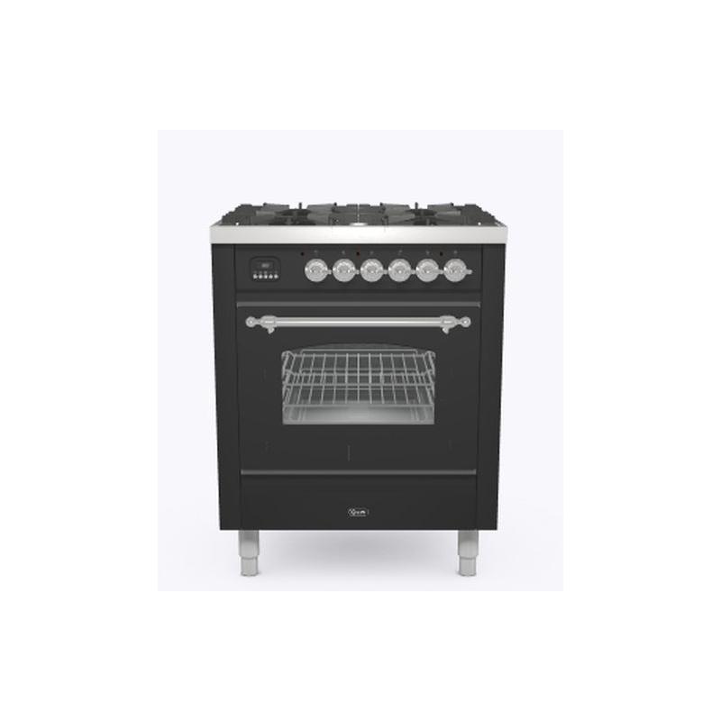 Aragaz ILVE Nostalgie P07N, 70x60cm, 4 arzatoare, cuptor electric, aprindere electronica, siguranta Stop-Gaz, antracit