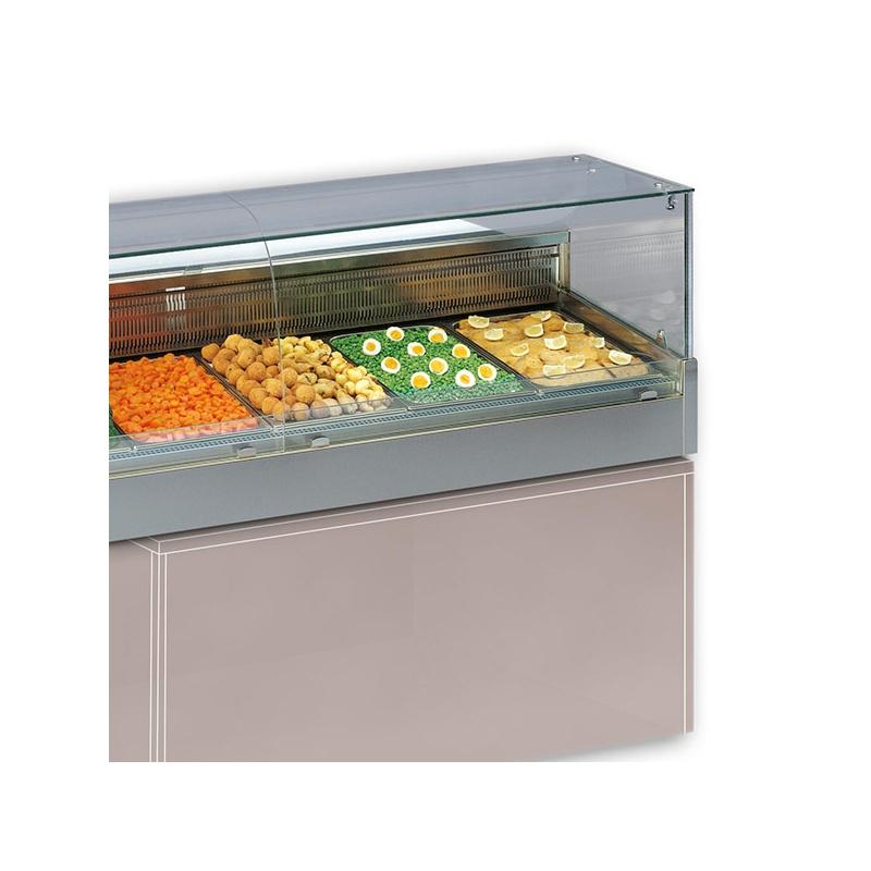 Vitrina frigorifica calda Tecfrigo SHOPPING 2000 DRY GN VD, putere 3550W, temperatura +30/+70°C, inox