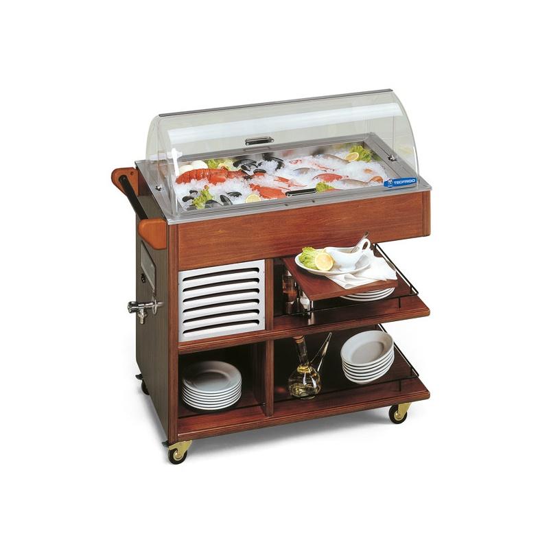 Vitrina rece tip carucior frigorific, Tecfrigo CARRELLINO FISH, pentru peste, putere 300W, temperatura -1/0°C, nuc inchis