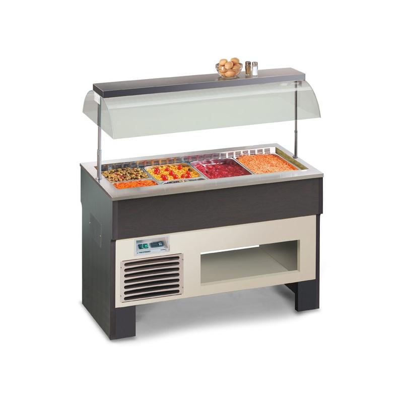 Vitrina frigorifica calda, Tecfrigo PROXIMA 3 M, putere 410W, temperatura +4/+10°C, lemn artar/wenge