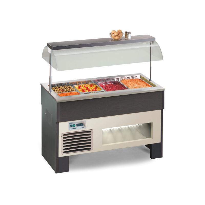 Vitrina frigorifica calda, Tecfrigo PROXIMA 3 M VT, putere 500W, temperatura +4/+10°C, lemn artar/wenge
