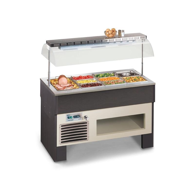 Vitrina frigorifica calda, Tecfrigo PROXIMA 4 M BM, putere 3550W, temperatura +30/+90°C, lemn artar/wenge
