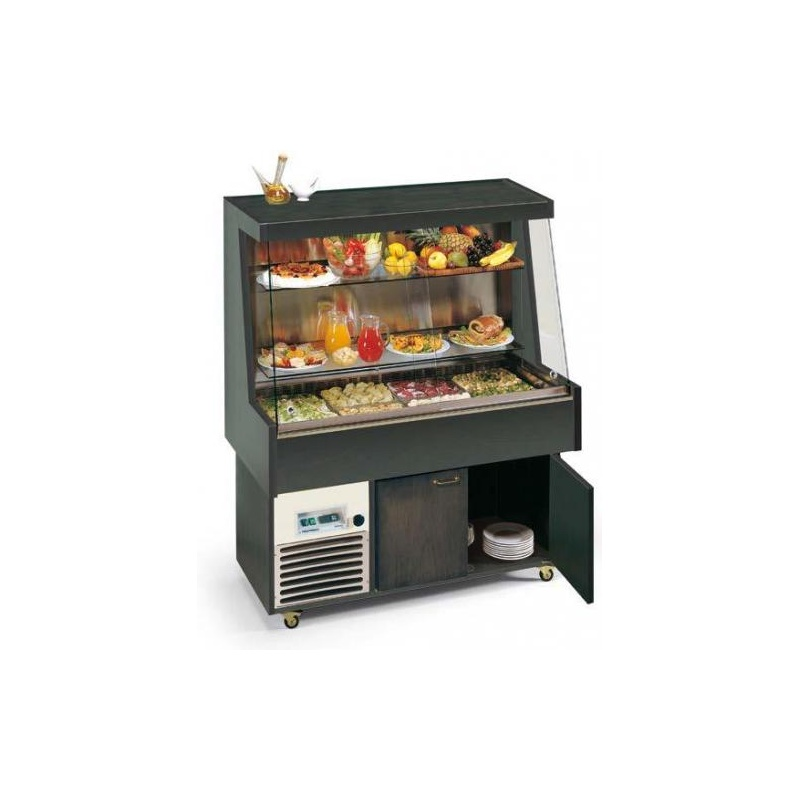 Vitrina calda tip bufet frigorific, Tecfrigo PROXIMA MURALE, putere 600W, temperatura +4/+10°C, lemn