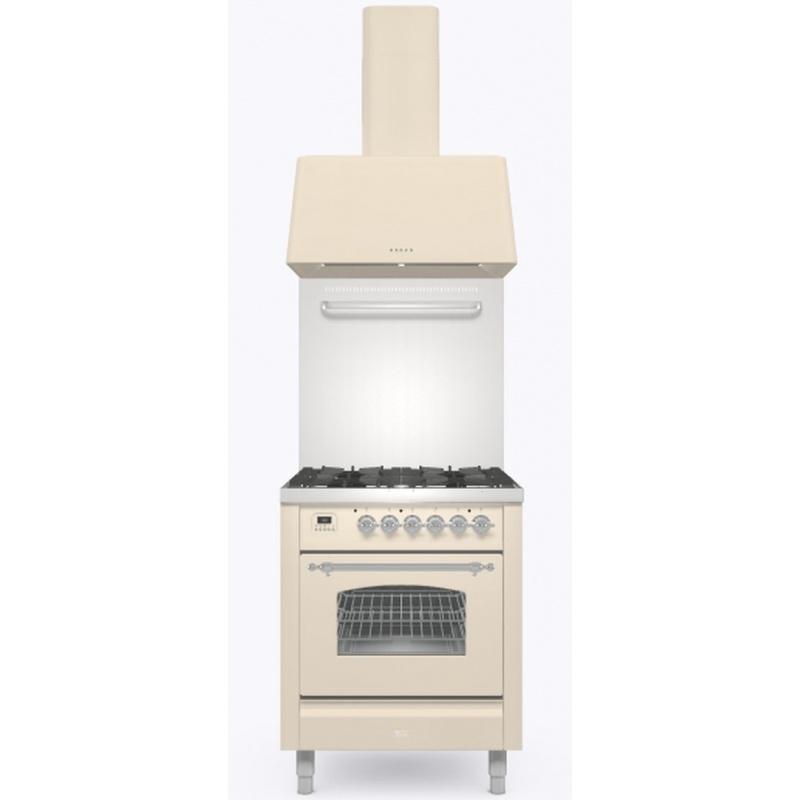Set Aragaz ILVE Nostalgie P06N, 60x60cm, 4 arzatoare, cuptor electric+Splash Back 60+Hota Ilve AG60, alb antic