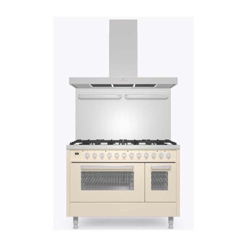 Set Aragaz ILVE Pro Line L12, 120x60cm, 6 arzatoare+Fry Top , cuptor dublu+Splash Back 120+Hota Ilve AGK120, alb antic