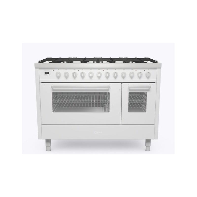 Aragaz ILVE Pro Line L12, 120x60cm, 6 arzatoare+Fry Top, cuptor dublu, aprindere electronica, siguranta Stop Gaz, alb
