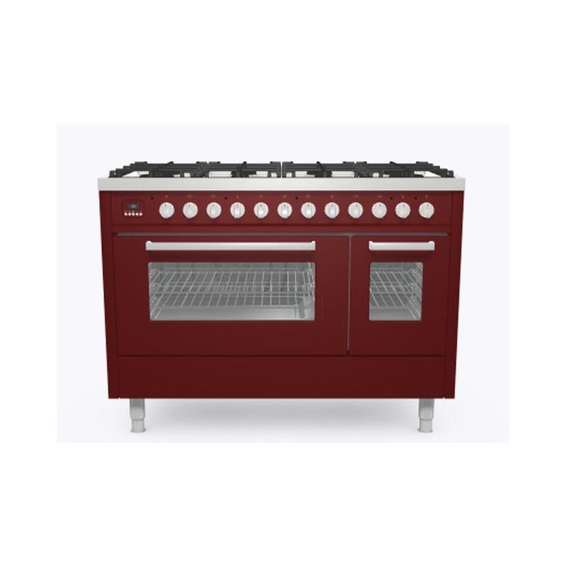 Aragaz ILVE Pro Line L12, 120x60cm, 6 arzatoare+Fry Top, cuptor dublu, aprindere electronica, siguranta Stop Gaz, rosu