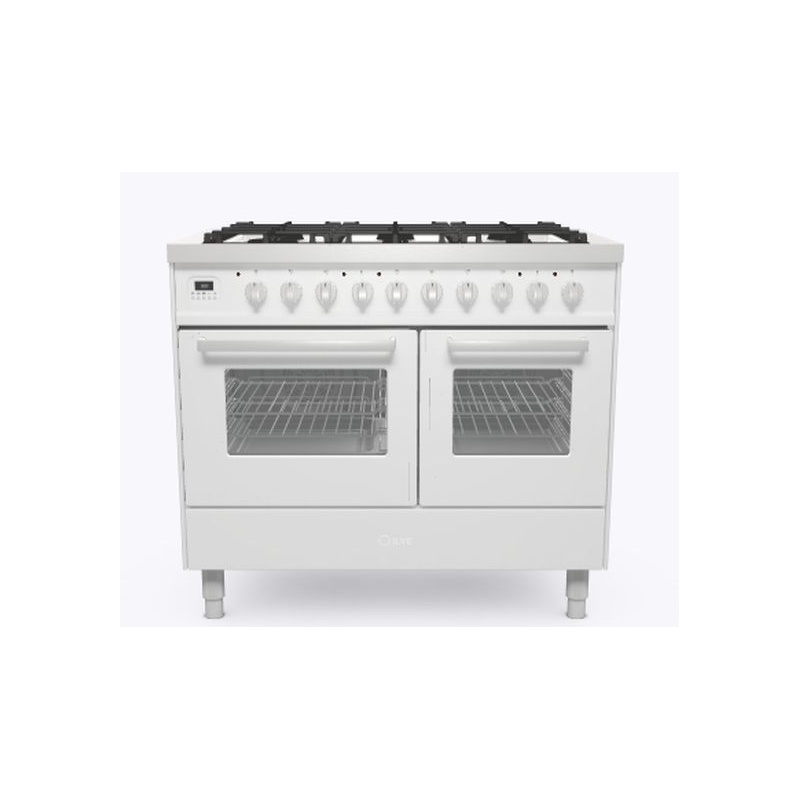 Aragaz ILVE Pro Line LD10, 100x60cm, 6 arzatoare , cuptor dublu, aprindere electronica, siguranta stop gaz, alb