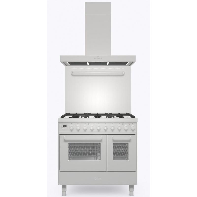 Set Aragaz ILVE Pro Line LD09, 90x60cm, 4 arzatoare + Fry Top, cuptor dublu+Splash Back 90+Hota Ilve AGK90, inox