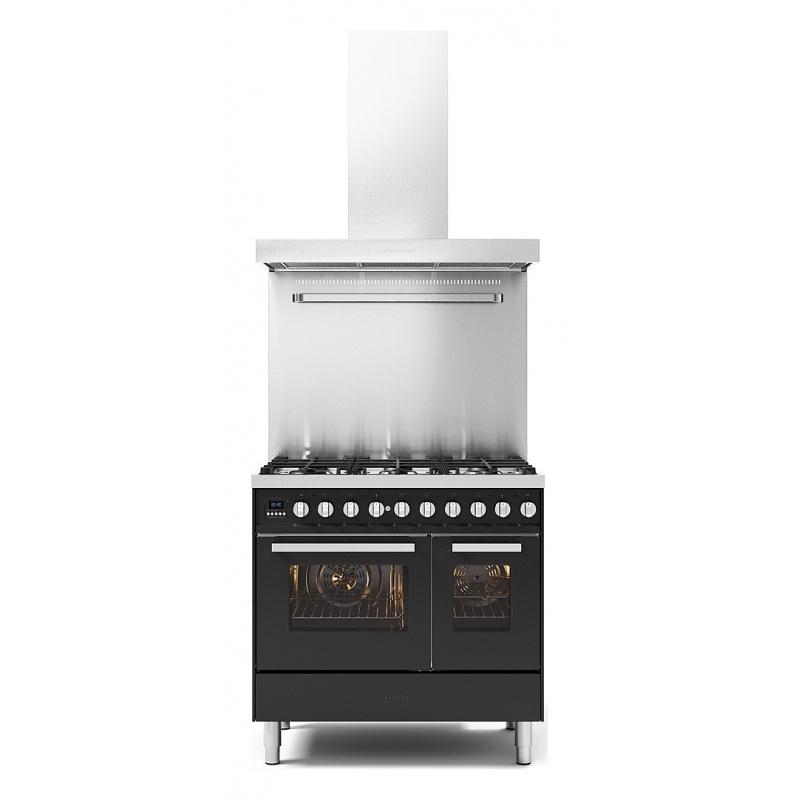 Set Aragaz ILVE Pro Line LD09, 90x60cm, 4 arzatoare + Fry Top, cuptor dublu+Splash Back 90+Hota Ilve AGK90, antracit