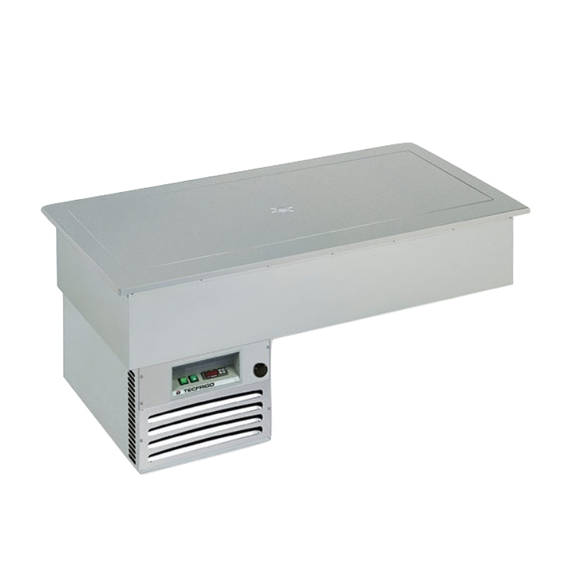 Vitrina frigorifica de expunere Tecfrigo Lambada Brina 4, putere 390 W, lungime 142.2 cm, temperatura -1/0 ºC, argintiu