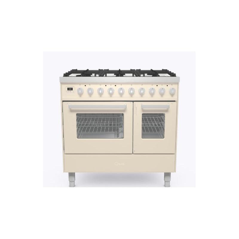 Aragaz ILVE Pro Line LD09, 90x60cm, 6 arzatoare, cuptor dublu, aprindere electronica, siguranta Stop Gaz, alb antic