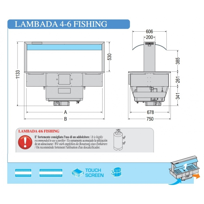 Vitrina expunere peste Tecfrigo LAMBADA 4 FISHING, putere 790 W, lungime 142.2 cm, argintiu