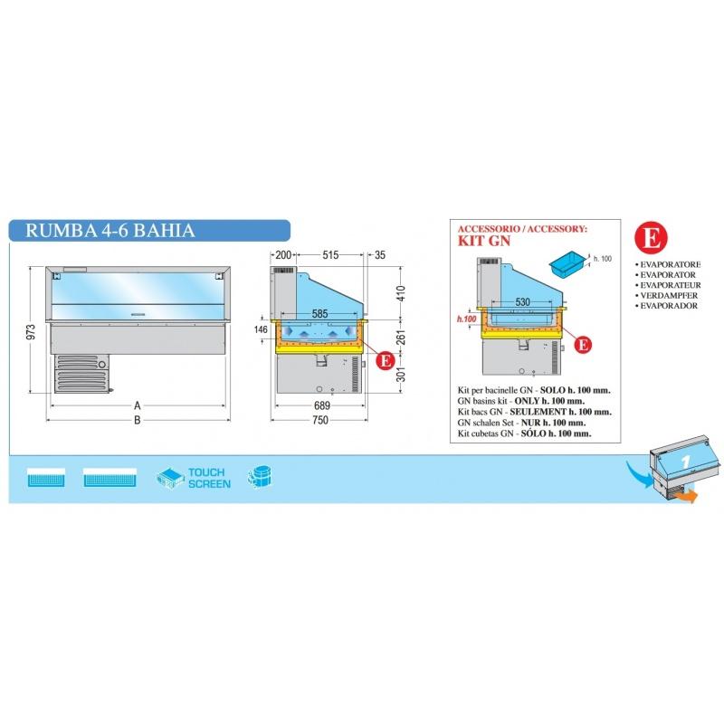 Vitrina frigorifica de expunere Tecfrigo Rumba 6 Bahia, putere 340 W, lungime 207.3 cm, temperatura -1/0 ºC, argintiu