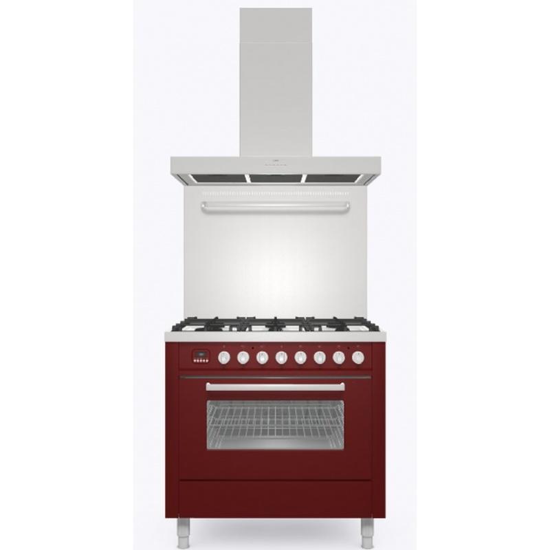 Set Aragaz ILVE Pro Line L09, 90x60cm, 4 arzatoare+Fry Top, cuptor electric+Splash Back 90+Hota Ilve AGK90, rosu