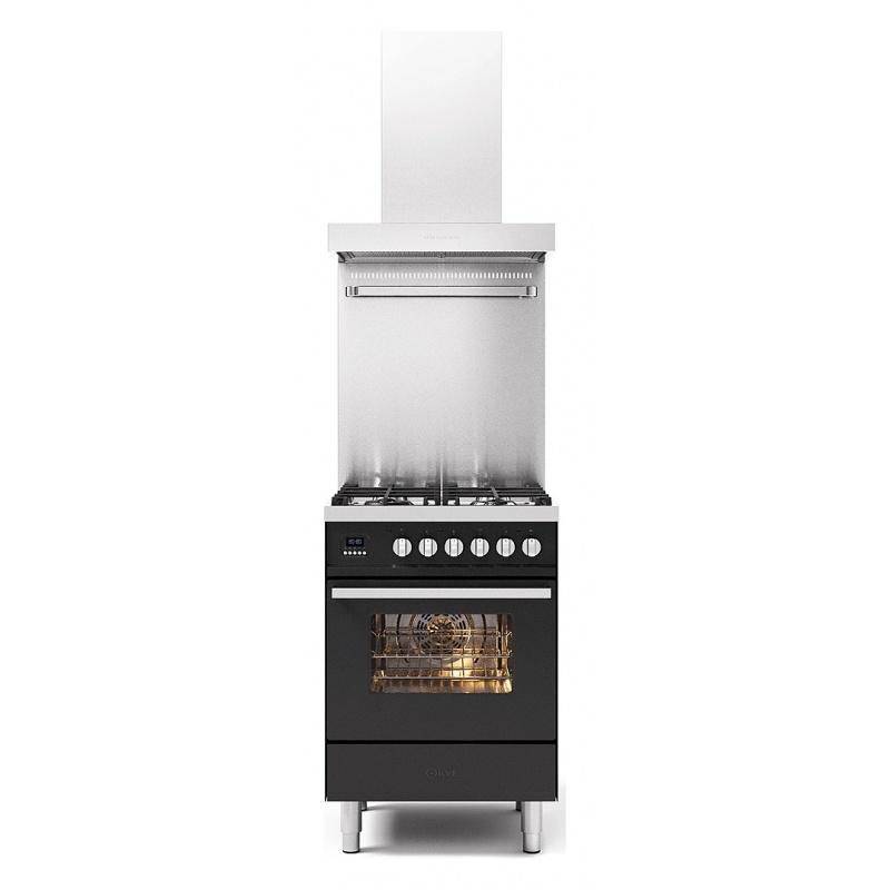Set Aragaz ILVE Pro Line L06, 60x60cm, 4 arzatoare, cuptor electric+Splash Back 60+Hota Ilve AGK60, antracit