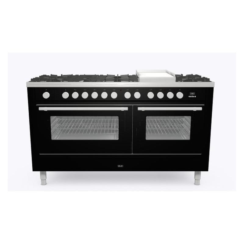 Aragaz ILVE Professional Plus P15W,150x60cm,7 arzatoare+Fry Top,cuptor dublu, aprindere electronica, siguranta gaz, negru lucios